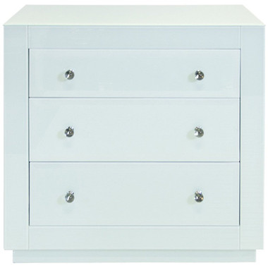 """3 DRAWER CHEST, ICE GLASS*  *Ice finish may take on a bluish or greenish cast depending on surrounding lighting and colors it is placed next to. Finish is not """"white"""" COLOR: Off White  DIMENSIONS: 32""""W X 30""""H X 20""""D"""