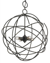 Movement in still life is epitomized in the design of the Belfry Chandelier. Wrought iron is finished in Black Iron and comprises the ethereal frame of this unusual yet simplified piece.