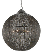 Thin strands of wire wrap around and around the orb shape chandelier. The touches of gold where the wires are welded bring the chic to this industrial look.