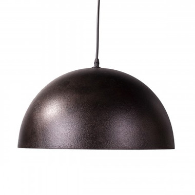 Industrial syle metal done shaped pendant small,black/gold. 15 w X 15 D   x 8 H