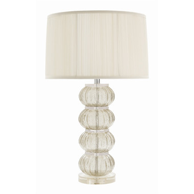 """Fluted glass spheres with bubbles in a soft smoked color capture the essence of old world murano glass. When stacked and mounted on an acrylic base and shaded with shirred silk, it is modern elegance at its finest. 3-way switch. MSRP: $ 1095.00 31"""" High 19"""" wide"""