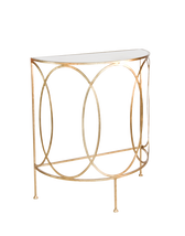 "Gold leaf console with oval details and antique mirror top. COLOR: Gold 30"" Wide 35"" High 15"" Deep"