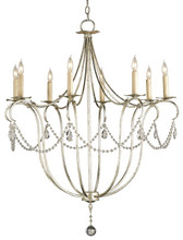 Currey & Company Silver Crystal Lights Chandelier, Large