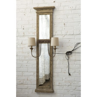 "62"" Tall reclaimed wood frame with antique mirror wall sconce has two arm lights 16"" wide and 10"" deep"