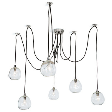 Wattage: 60 Watt Max Bulb Qty: 6 Socket: E12 Candelabra Material: Glass Finish:Polished Nickel Details These genuine materials have the inherent beauty of variations in color, texture, size, and finish. Irregularities are the welcomed result of using age-old techniques and native materials. These characteristics add depth, beauty, texture, and should not be considered defects. Custom placement of individual globes to accommodate personal style and spacial details