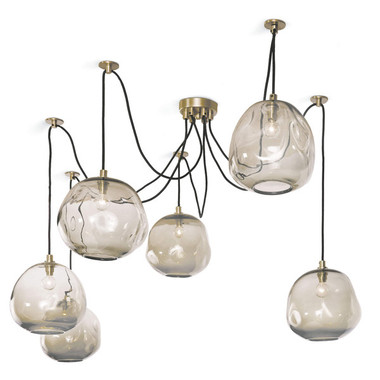 Wattage: 60 Watt Max Bulb Qty: 6 Socket: E12 Candelabra Material: Glass Finish:Brass Details These genuine materials have the inherent beauty of variations in color, texture, size, and finish. Irregularities are the welcomed result of using age-old techniques and native materials. These characteristics add depth, beauty, texture, and should not be considered defects.  This fixture is extremely adjustable for personal preferences and allows for custom fit to available space