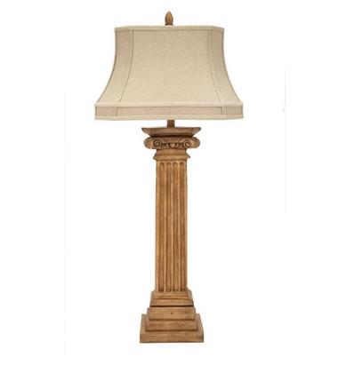"""Newport column lamp with linen shade, 45""""H"""
