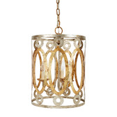 """PARKER SILVER AND GOLD STAMPED METAL ROUND PENDANT, 14""""DIA x 19""""H"""