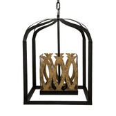 "VALENCIA BLACK & ANTIQUE GOLD PENDANT 15""Square 21.5"" High"