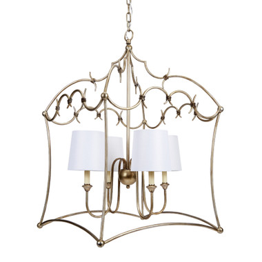 """AMELIA ORNATE SILVER CHANDELIER WITH WHITE LINEN SHADES, 22""""W x 22""""D x 33.5""""H"""