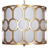 "ART DECO STYLE GOLD LEAF PENDANT WITH WHITE LINEN INNER SHADE AND DIFFUSER. USES THREE 40W CANDELABRA BASE BULBS. 3' MATCHING CHAIN IS INCLUDED. COLOR: Gold Leaf  DIMENSIONS: 20""H X 25""DIA"