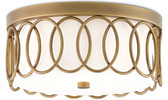 Elegant overlapping ovals finished in brass create a perfect frame around the Milk Glass diffuser of the Bond Flush Mount. DIMENSIONS: 13rd x 6h NUMBER OF LIGHTS: 2 MATERIAL: Brass/Metal/Glass FINISH: Antique Brass/White Opaque Glass WATTAGE PER LIGHT: 13 TOTAL WATTAGE: 26 BULB TYPE: GU24 Socket FREIGHT INFORMATION: FedEX/UPS ITEM WT: 8 PKG WT: 20