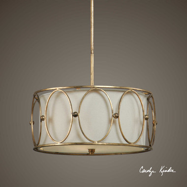 """Antiqued gold leaf metal with a beige linen fabric liner. 20' Diameter 55 """" High (THREE 12"""" ONE 6"""" (ADJ))"""