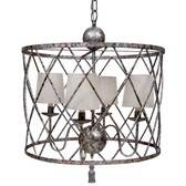 "Open weave chandelier in antique silver finish and linen shades. 22""D x 24""H  Some shipping charges may apply,(over sized box)"