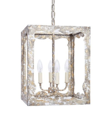 "FIELDS DISTRESSED GREY & GOLD PENDANT, 13""SQ X 19""H"