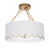 "ELOISE GLOSSY WHITE & GOLD SCALLOPED CEILING FIXTURE, 15.5""DIA X 15""H"