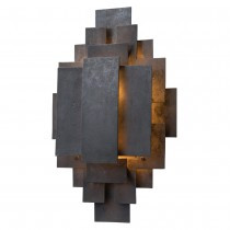 Inspired by the 1950s brutalist movement, this one-light, iron sconce is crafted out of hand cut geometric shapes, welded together into a tribal-like pattern. The wax finish helps keep the sconce natural – perfect for horizontal or vertical mounting. Damp rated and approved for use in covered outdoor areas.