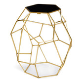 The Geo table is designed to be engaging from every angle. Its granite top is supported by gold plated bars, each notched at a different place along its inside edge to create a geometric pattern that seems to change as you circle. Height: 26 Width: 22 Depth: 18 Material: Steel Finish: Gold Weight: 30