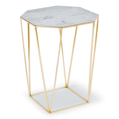 Alabaster combines with gold steel in a design that makes a perfect accent table next to a couch or club chair. Each piece of alabaster features unique fissures, markings and inherent variations, so each table is unique.  Height: 24.75 Width: 18.25 Depth: 18.25 Material: Iron Finish: Gold Weight: 28