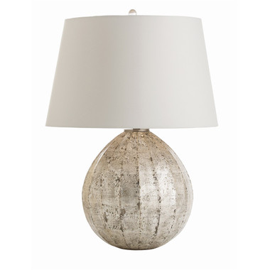 """The exquisite finishing on this fluted glass lamp is hand-applied to the exterior. It is first acid washed, then hand-applied with silver and purposefully disturbed, distressed and reapplied to create the random pattern. The tapered ash shade is lined in the same fabric. 3-way switch. 26"""" H  19"""" diameter"""