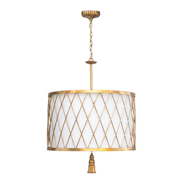 Updated opulence comes to mind with this pendant, which wears an antique gold leaf finish complete with an iron tassel finial at bottom. Clove would be at home in modern or traditional interiors alike — try two in a kitchen for an unexpected statement. Height: 39.5 Width: 25 Depth: 25 Shade: 25 x 25 x 16 Wattage: 60 Max Bulb Qty: 3 Bulb Type: A Type Medium Base (E26) Socket: E26 Keyless Wiring Type: Hard Wire Chain: 6 ft. Cord: 10 feet Material: Iron Finish: Antique Gold Leaf Weight: 31 Available Now: 28  Bulb(s) not included.     Additional chain available for sale. Refer to item CHAINANTGLD