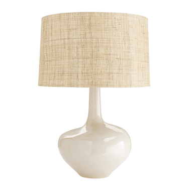 WARM SAND REACTIVE GLAZE SHADE: RAW HEMP LINEN H: 28IN DIA: 19IN  A touch of mid-century glamour is in the design of this shapely bottle lamp. The wide base and drum shade create balance with the slender neck, and the warm ivory glaze has subtle patterning you can only experience up close. Topped with a linen and raw hemp drum shade with cotton lining and acrylic ball finial. Glaze finish may vary.