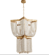 "Height:	32"" Width/Dia.:	25"" Shipped Via:	Parcel Safety Rating:	Dry Weight:	26.2lb Number of Bulbs:	3 Max. Wattage:	60W Bulb Base:	Candelabra Material:	Iron and Wood Vintage charm makes its way to a tasteful and stylish light fixture. With a design-forward silhouette, strands of wood beads in a creamy finish add a fun detail enhancement to a beautifully designed base. This three-light tinted gold leaf iron and wood pendant delivers an extra special artistic feel."
