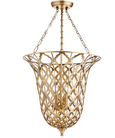 """Height:31.75"""" Width/Dia.:20.25"""" Shipped Via:Parcel Safety Rating:Dry Weight:21lb Number of Bulbs:4 Max. Wattage:60W Bulb Base:Candelabra Material:Iron Light and airy, this aged brass finish iron pendant serves as an artful décor accent as well as a light fixture. An open-face quatrefoil design yields a demi-view of four delicate candle-shaped bulbs that offer just the right amount of lighting for a dining or living space."""