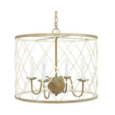 """OPEN WEAVE FRENCH WHITE & GOLD ROUND CHANDELIER Item Dimensions: 22""""DIA x 18.5""""H WATTS: 60W X 4"""