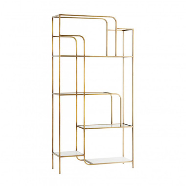 A study in geometrics, our Weaver Etagere possesses classic style in modern form. The multi-tiered unit features white marble and clear glass shelves that contemporizes the antique brass finish of its stately iron frame.The open construction creates an airy effect and works to showcase your prized possessions in full form.  81.5 42.13