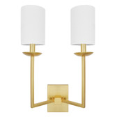 "TWO ARM SCONCE WITH WHITE LINEN SHADE IN GOLD LEAF  UL APPROVED FOR TWO 40 WATT CANDELABRA BULBS  12"" W 18.5"" H X 5"" D"