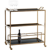 Whether you choose to mix and mingle in the dining room or kitchen, choose to do it with effortless style—simple and never boring. Featuring a sleek iron frame in a carbon metal finish and black glass shelves, this multi-tiered bar cart is asfashionable as it is functional. Perfect for parties, the tray top is removable so you can serve cocktails and hor d'oeuvres to guests in style.