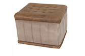 TUFTED LEATHER TOP STOWAWAY STOOL TEA-STAINED CANVAS and BUFFALO LEATHER L: 22.50 inches  W: 18.50 inches  H: 16.50 inches
