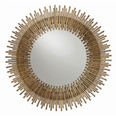 Individual iron rods are welded together and finished in antique gold leaf to create this fresh interpretation of the always popular starburst. The round shape looks great alone or in multiples. Overall Diameter:30.5in Actual Mirror Size:16.5in Overall Dimension D:1.5in