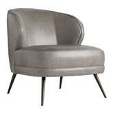 "Occasional chairs are known for their sense of casual luxury. The Kitts Chair is no exception built plush and sturdy for whatever your lifestyle brings. The curved back gives you ample support while the sloping arms keep you curled up inside.Upholstered in a plush Mineral Grey Leather with welting details to accentuate the curves. The base rests on tapered light bronze finished metal legs that have a hint of glisten. H34"" W29"" D33"""