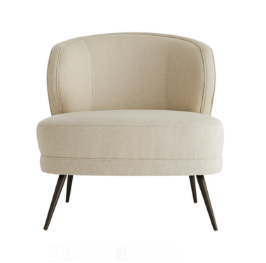 """Occasional chairs are known for their sense of casual luxury. The Kitts Chair is no exception, built plush and sturdy for whatever your lifestyle brings. The curved back gives you ample support, while the sloping arms keep you curled up inside. Upholstered in a plush, marigold velvet with welting details to accentuate the curves. The base rests on tapered, light bronze finished metal legs that have a hint of glisten. Also available in Marigold Velvet (8118) and Muslin (8120). H34"""" W29"""" D33"""""""