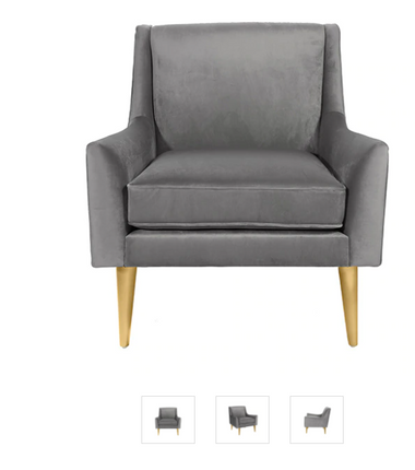 """LOUNGE CHAIR WITH BRASS LEGS IN GREY VELVET  32.5"""" W X 33.5"""" H X 33.5"""" D   SEAT HEIGHT 18.5""""  Width:32.50"""" Height:33.50"""" Depth:33.50""""  Shipping: Freight"""