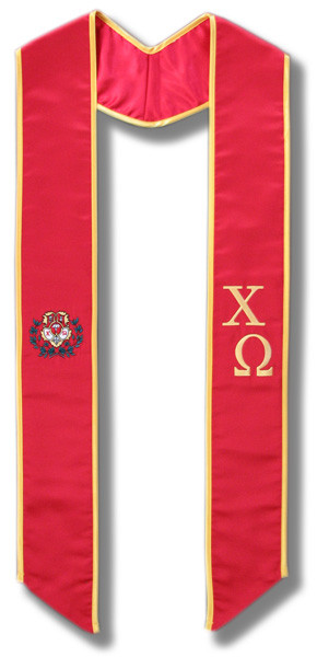 Chi Omega Graduation Stole - Red & Gold with Crest