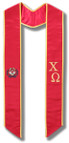 Chi Omega Graduation Stole - Red with Gold embroidery and Crest