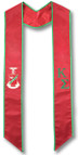 Kappa Sigma Graduation Stole - Red and Kelly Green embroidery with Crest