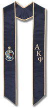Alpha Kappa Psi Graduation Stole - Navy and Gold embroidery with Crest