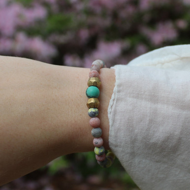 Skinny Calcite and Green Opal (Cleansing with Good Vibes) Stone Bracelet. Hand-molded Brass Accent Bead for natural good. Stretch Bracelet. 7 inches.