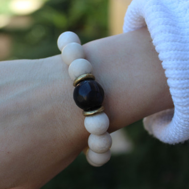 Fossil Coral|Hospitality.  Hand-molded Brass Accent for natural good.Stretch Bracelet. 7 inches. Limited Quantities.