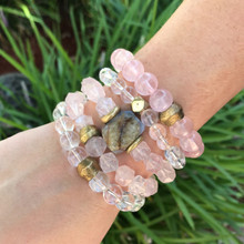 It is all about the STATEMENT, go BOLD with this pretty in pink bracelet stack filled with good intentions rose quartz (peace), clear quartz/crystal (clarity/energy) with a hint of blue lace agate (calming). Brass Accents=Natural Good. Stretch Bracelet. 7inches.