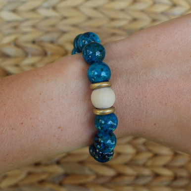 Beaded Bracelet with Fossil Coral. Handmolded Brass Accent for natural good. Stretch Bracelet. 7 inches.