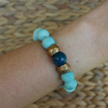 Beaded Jade Bracelet (Harmony). Handmolded Brass Accent for natural good. Stretch Bracelet. 7 inches.