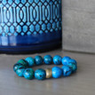 Beaded Bracelet. Handmolded Brass Accent for natural good. Stretch Bracelet. 7 inches.