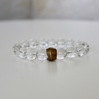 Clear Crystal Quartz Bracelet (grace/purity/patience). Handmolded Brass Accent for natural good. Stretch Bracelet. 7 inches.