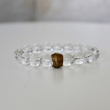 Clear Crystal Quartz Bracelet (space/purity/patience). Handmolded Brass Accent for natural good. Stretch Bracelet. 7 inches.
