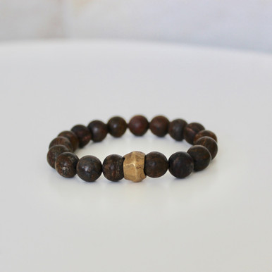Bronzite Bracelet (confidence/courage). Handmolded Brass Accent for natural good. Stretch Bracelet. 7 inches.